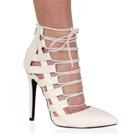 Kalia White Pointed Lace Up Heel
