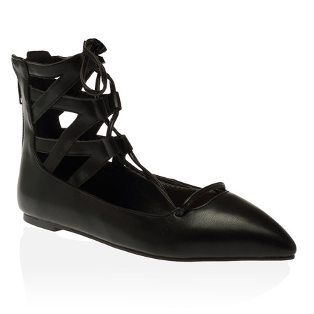 Kara Lace Up Flats in Black