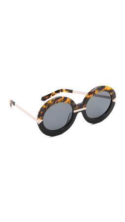 Karen Walker Hollywood Pool Sunglasses - Crazy Tort Black/G15 Mono