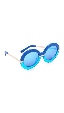 Karen Walker Hollywood Pool Sunglasses - Sea Blue Aqua/Blue Mirror
