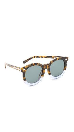 Karen Walker Special Fit Super Duper Thistle Sunglasses - Crazy Tort Clear/G15 Mono