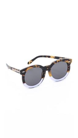 Karen Walker Super Duper Thistle Sunglasses - Crazy Tort Clear/G15 Mono