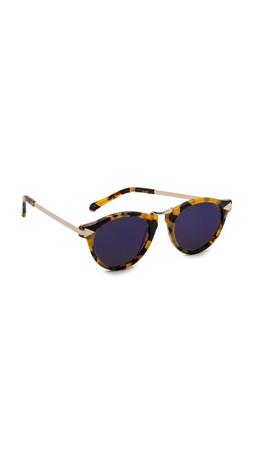 Karen Walker Superstars Collection Helter Skelter Mirrored Sunglasses - Crazy Tort/Blue Revo
