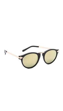 Karen Walker Superstars Helter Skelter Sunglasses - Black/Gold