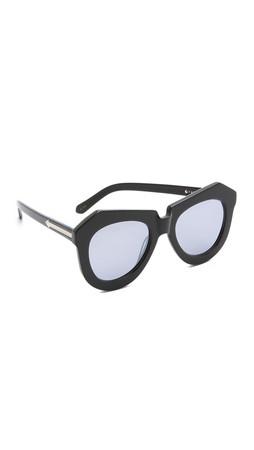 Karen Walker Superstars One Worship Sunglasses - Black/Silver