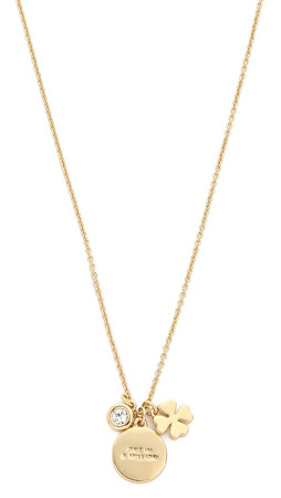 "Kate Spade New York Clover ""One In A Million"" Charm Necklace - Gold Multi"