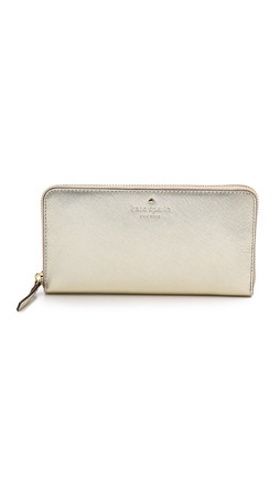 Kate Spade New York Lacey Zip Around Continental Wallet - Gold