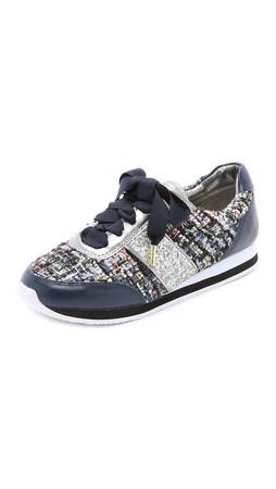 Kate Spade New York Sidney Tweed Jogging Sneakers - Black/Navy/Silver