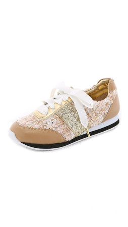 Kate Spade New York Sidney Tweed Jogging Sneakers - Honey/Natural/Gold