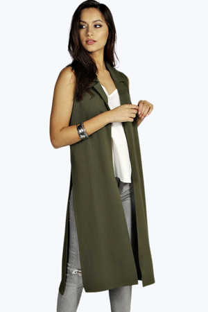 Kayleigh Side Slit Duster Coat khaki