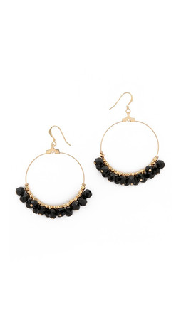 Kenneth Jay Lane Beaded Hoop Earrings - Gold/Black
