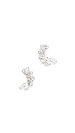 Kenneth Jay Lane Demi Lune Earrings - Silver/Clear