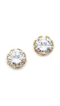 Kenneth Jay Lane Round Cz Stud Earrings - Clear/Gold