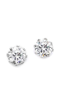 Kenneth Jay Lane Round Cz Stud Earrings - Clear/Silver
