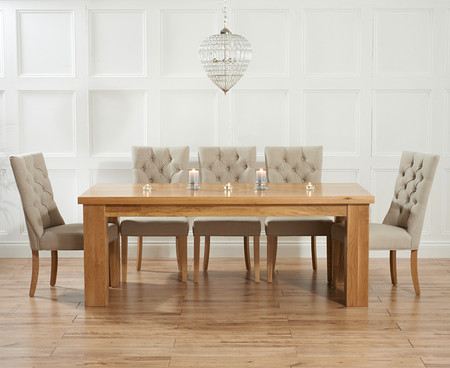 Kentucky 150cm Solid Oak Dining Table with Anais Fabric Chairs