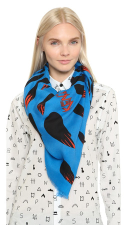 Kenzo Bamboo Leaves Scarf - Turquoise