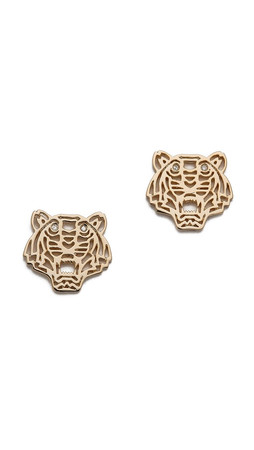 Kenzo Mini Tiger Earrings - Gold
