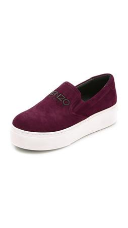 Kenzo Suede Slip On Sneakers - Prune