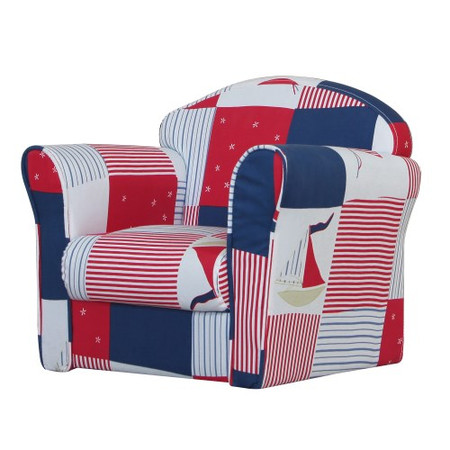 Kidsaw Mini Armchair In Blue Patchwork