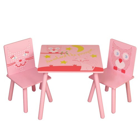 Kidsaw Owl & Pussycat Table & Chairs In Pink