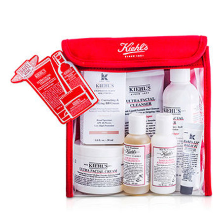Kiehl`s Skincare Routine Set: Toner 250ml + Cleanser 150ml + Cream 125ml + Body Lotion & Body Cleanser 65ml + BB Cream 30ml + Lip Balm 15ml + Bag 7pcs+1bag