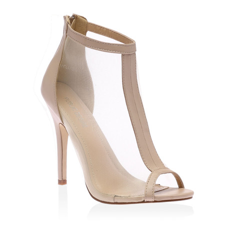 Kimmy Nude Peeptoe Mesh Shoes