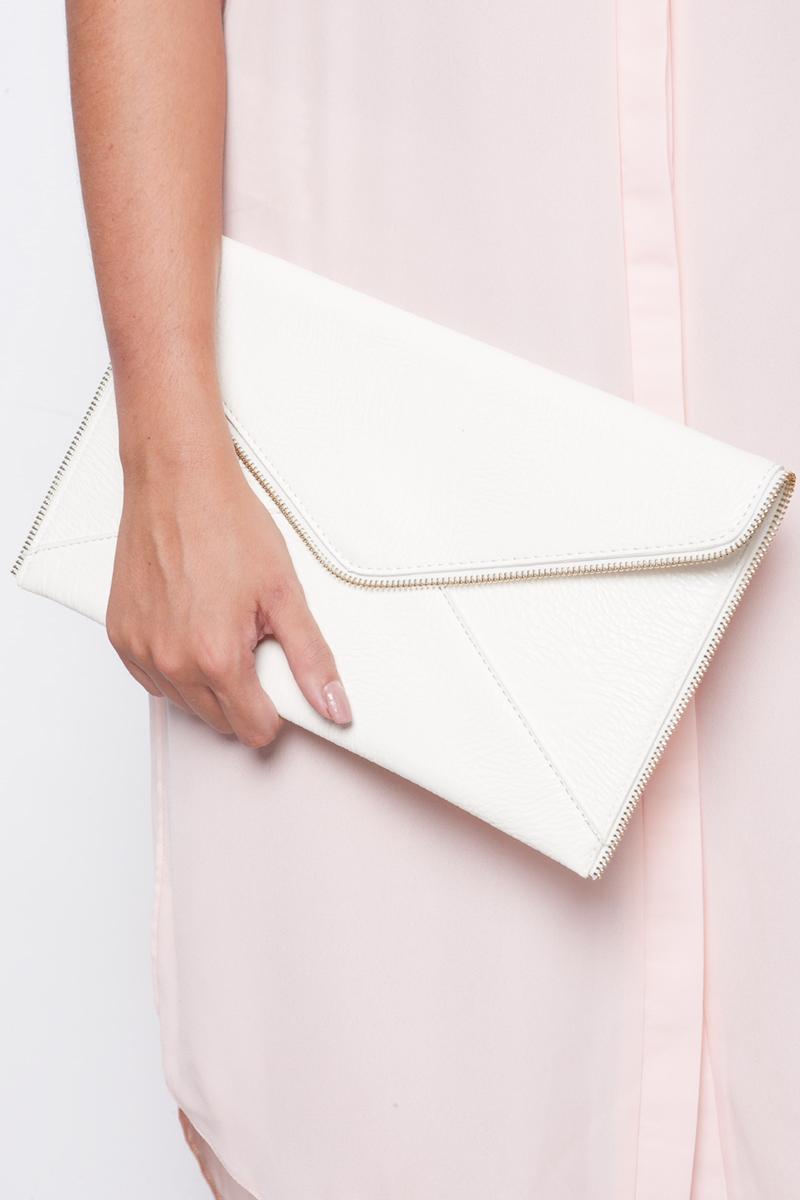 Kylie White Zip Trim Detail Clutch Bag
