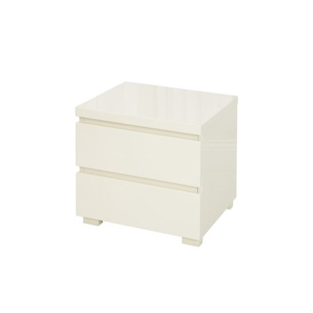 LPD Puro High Gloss Bedside Table in Cream