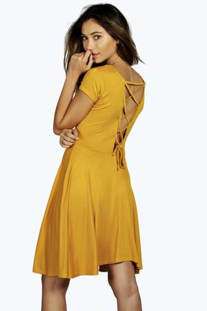 Lace Up Back Skater Dress mustard