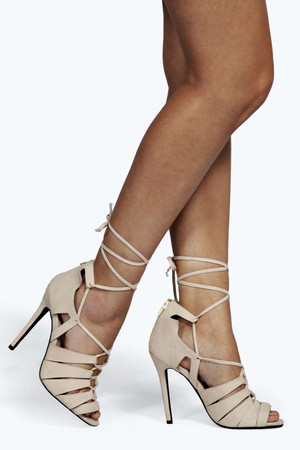 Lace Up Caged Gladiator Heels nude
