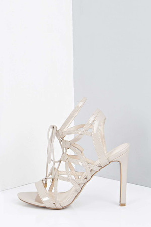 Lace Up Cut Out Patent Heels nude
