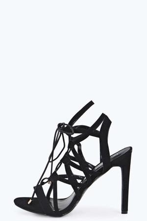 Lace Up Cut Out Suedette Heels black