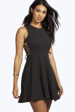 Lace Up Side Textured Skater Dress - black