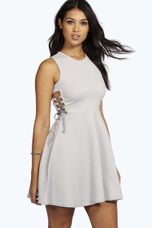 Lace Up Side Textured Skater Dress ice