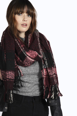 Large Boucle Check Blanket Scarf berry