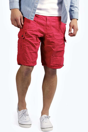 Laundered Cargo Shorts - red