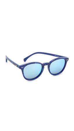 Le Specs Bandwagon Sunglasses - Cobalt Marble/Silver