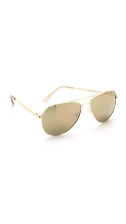 Le Specs Drop Top Sunglasses - Gold/Gold Revo Mirror