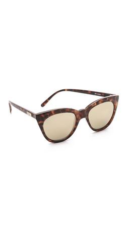 Le Specs Half Moon Magic Sunglasses - Milky Tort/Gold Revo Mirror