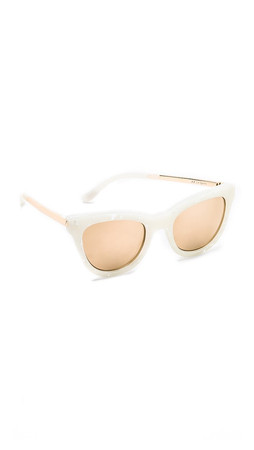 Le Specs Le Debutante Sunglasses - White Marble/Gold