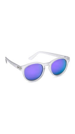 Le Specs Limited Edition Hey Macarena Sunglasses - Matte Ash/Purple Revo Mirror