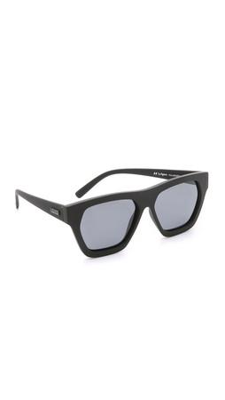 Le Specs New Wave Polarized Sunglasses - Black Rubber/Smoke Mono