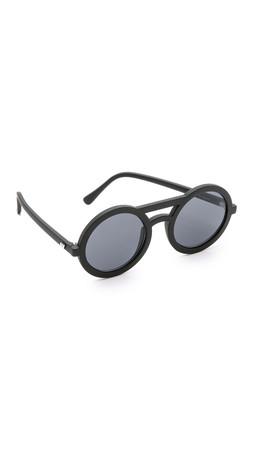 Le Specs Radio Star Sunglasses - Black Rubber/Icy Blue Revo