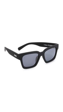 Le Specs Weekend Riot Polarized Sunglasses - Black Rubber/Smoke Mono
