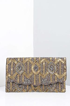 Libby Sequin Embellished Clutch Bag gold