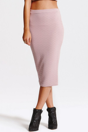 Lilac Ribbed Midi Skirt