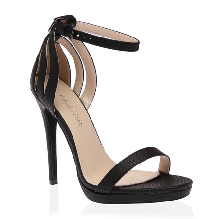 Lilly Barely There Heels in Black Lizard