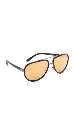 Linda Farrow Luxe Aviator Sunglasses - Black/Gold