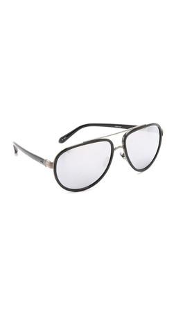 Linda Farrow Luxe Aviator Sunglasses - Black/Platinum