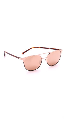 Linda Farrow Luxe Aviator Sunglasses - Rose Gold/Rose Gold